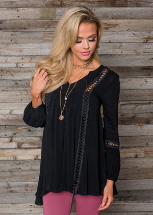 Crochet Lace High Low Detailed Tunic Top Black