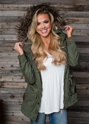Fur Hooded Military Jacket Olive