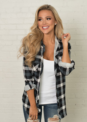 All The Pretty Things Plaid Top Black