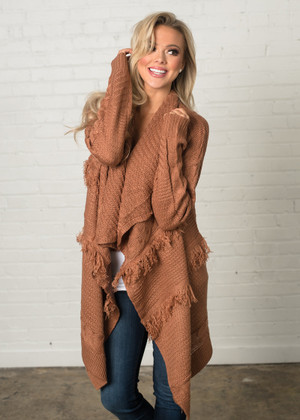 A Piece of My Heart Layered Fringed Sweater Apricot