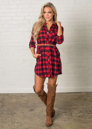 The Winner Takes it All Red Plaid Belted Dress