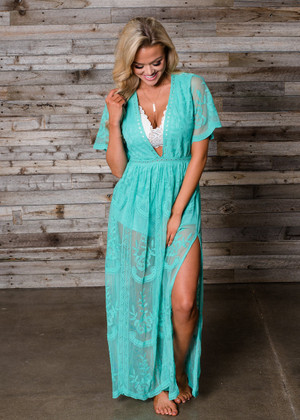 To Die For Gypsy Lace Sheer Maxi Romper Dress Turquoise