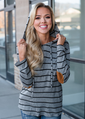 Striped Front Pocket Elbow Patch Hoodie Gray