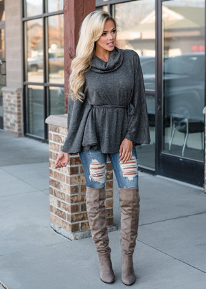 Pull Over Cowl Neck Tie Front Top Charcoal