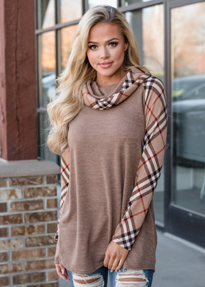 Cowl Neck Plaid Sweater Tunic Taupe