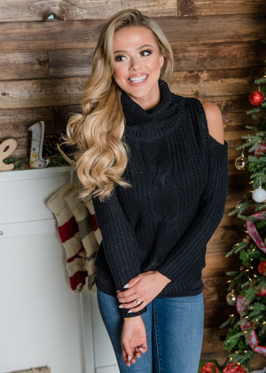 Drinking Hot Cocoa Open Shoulder Knit Sweater Top Black