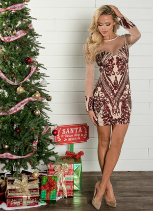 Meet Me Under The Mistletoe Sequin Dress Burgundy