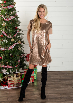 Jingle Bell Rock Front Sequins Gold Dress