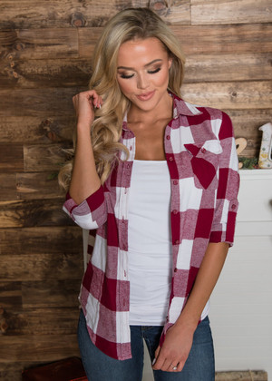 Burgundy and Ivory Plaid Button Up Top