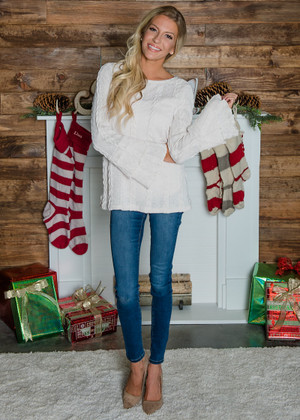 White Christmas Cable Knit Belle Sleeve Sweater Top Cream