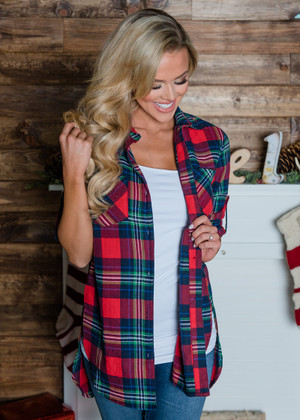 Merry Little Holiday Plaid Button Up Top