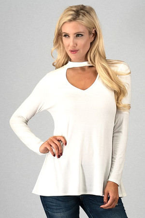 Chocker Neck Cut Out Front Solid Top Ivory