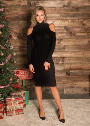 Turtleneck Ribbed Cold Shoulder Dress Black