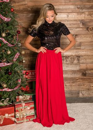 Red Beautiful Flowy Maxi Skirt
