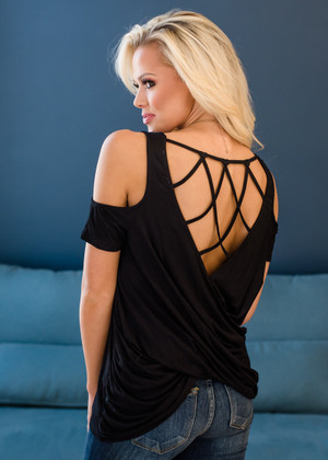 Everything Sparkles Under a Chandelier Detailed Back Top Black