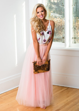 My Dreams Come True Tulle Long Maxi Skirt Blush