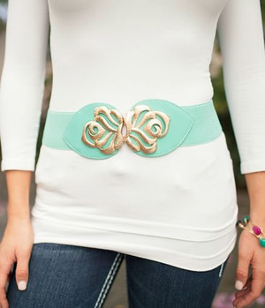 Light Mint Gold Flower Accent Belt