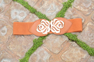 Brown Gold Flower Accent Belt CLEARANCE