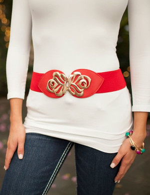 Red Gold Flower Accent Belt CLEARANCE