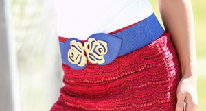 Royal Blue Gold Flower Accent Belt CLEARANCE