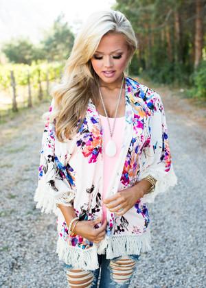 Floral Heaven Kimono Fringe Cardigan CLEARANCE