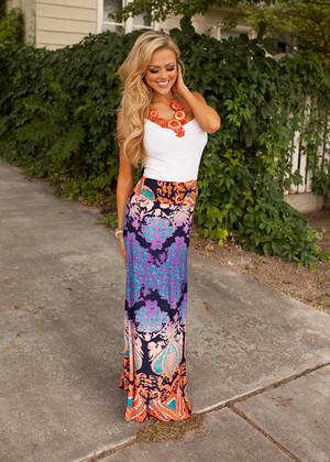 Treasure Island Maxi Skirt Coral