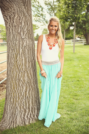 Fanned In Fashion Maxi Skirt Mint CLEARANCE