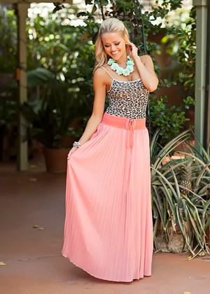 Fanned in Fashion Tie Skirt Coral CLEARANCE