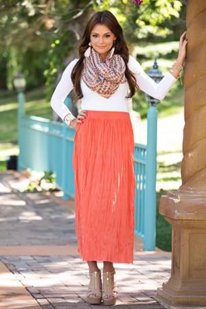 Fresh Crinkle Skirt Rust CLEARANCE