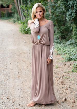 Ray of Sunshine Lace Crochet Maxi Dress Mocha