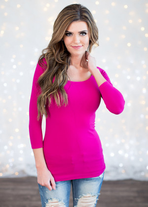 3/4 Sleeve Fuschia Seamless Top