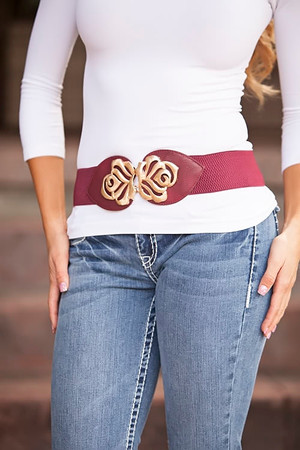 Burgundy Floral Accent Belt CLEARANCE