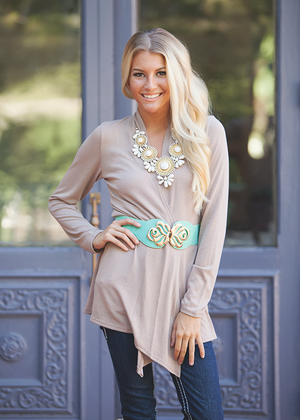 Just Your Basic Cardi Taupe CLEARANCE