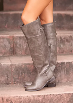 Faux Leather Open Back Riding Boots Taupe CLEARANCE
