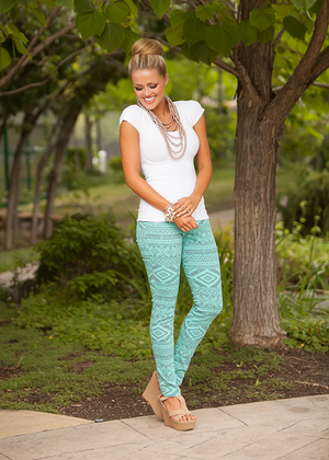 Extraordinary Tribal Jeggings Dark Turquoise CLEARANCE