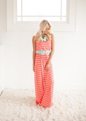 Back To Basics Striped Maxi Dress Neon Orange