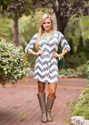 Chevron Slinky Dress Gray CLEARANCE