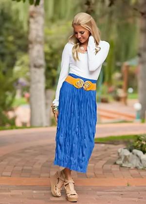 Fresh Crinkle Skirt Cobalt Blue CLEARANCE