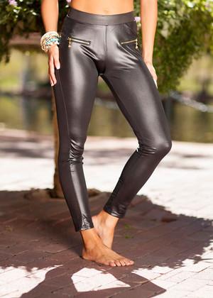 Black Pleather Gold Zipper Leggings CLEARANCE