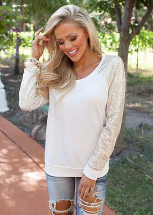 Glitter Glam Sweatshirt Ivory