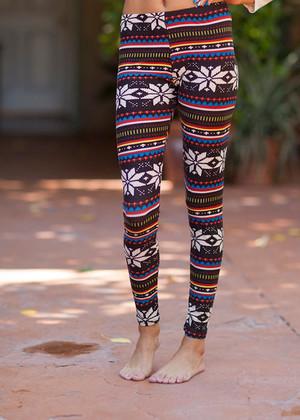 Dark Multi Patterned Leggings CLEARANCE