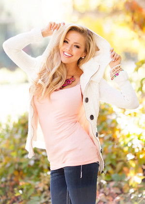 Girl Next Door Hooded Sweater Ivory CLEARANCE