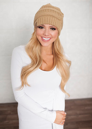 Slouchy Knit Beanie Taupe