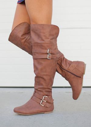 Riding High Boots Brown CLEARANCE