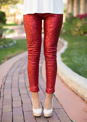 Nothin But Sequins Pants Red