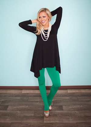 Green Fleece Leggings
