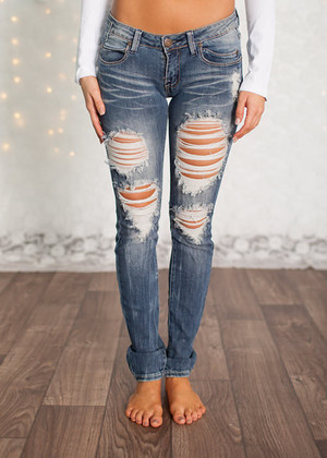 Machine Low Rise Distressed Jeans CLEARANCE