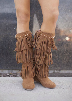Studded Top Moccasin Boots