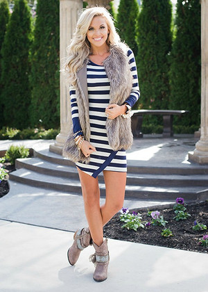 Joyful Striped Tunic or Dress Navy CLEARANCE