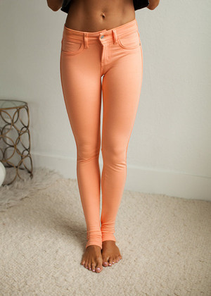 Most Favored Cantaloupe Fitted Jeggings CLEARANCE